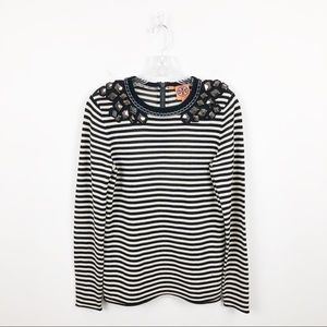 Tory Burch Sweater Breton Wool Embellished Striped